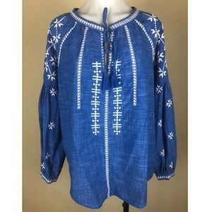 Gap Embroidered Blue Peasant Boho Top Tassel